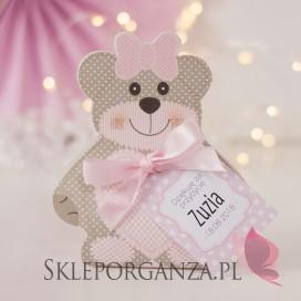 Upominki dla gości na Baby Shower personalizowane Pudełko MIŚ różowy - personalizacja KOLEKCJA KROPECZKI/MIŚ