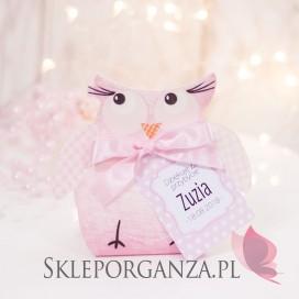 Pudełko SOWA różowa - personalizacja KOLEKCJA SOWA/KROPECZKI