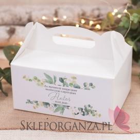 Kolekcja Eukaliptus na Komunię Pudełko na ciasto białe – personalizacja KOLEKCJA EUKALIPTUS