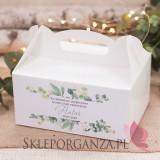 Z personalizacją Pudełko na ciasto białe – personalizacja KOLEKCJA EUKALIPTUS