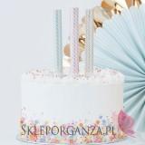 Fontanny i świeczki weselne Fontanny tortowe, pastelowe ze złotymi zdobieniami, 3szt.