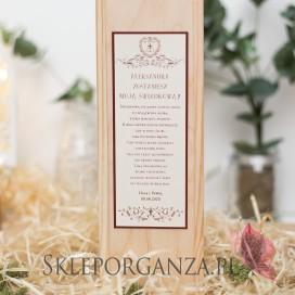 Prośba o świadkowanie - drewniana skrzynka na alkohol - personalizacja VINTAGE