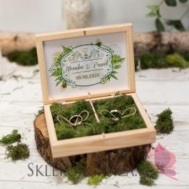Drewniane pudełko na obrączki mech - personalizacja WOODLAND WHITE