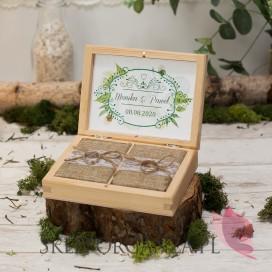 Drewniane pudełko na obrączki - personalizacja WOODLAND WHITE