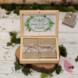 WOODLAND WHITE Drewniane pudełko na obrączki - personalizacja WOODLAND WHITE