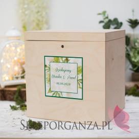 Drewniana skrzynka na koperty - personalizacja WOODLAND WHITE