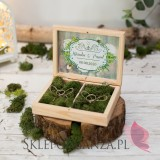 Drewniane pudełko na obrączki mech - personalizacja WOODLAND