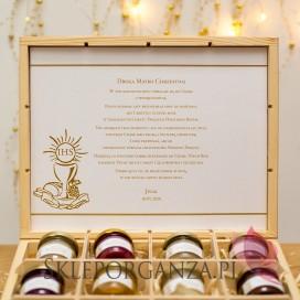 Podziękowania dla Rodziców Chrzestnych na Komunię Zestaw miodów ekskluzywny – personalizacja KOLEKCJA ZŁOTA