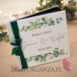 Księgi gości weselnych kwadratowe Księga gości skóra biała - personalizacja kolekcja ślubna EUKALIPTUS