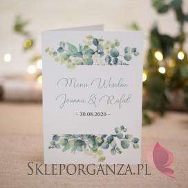 Menu - personalizacja kolekcja ślubna EUKALIPTUS