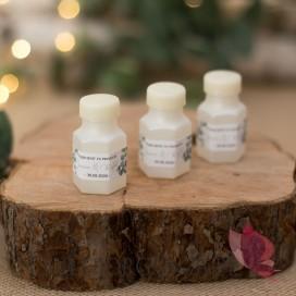 Personalizowane bańki mydlane na wesele Bańka mydlana buteleczka – personalizacja KOLEKCJA EUKALIPTUS