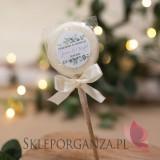 Personalizowane lizaki na wesele Lizak biały – personalizacja kolekcja ślubna EUKALIPTUS