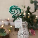 Personalizowane lizaki na wesele Lizak okrągły ciemnozielony - personalizacja kolekcja ślubna EUKALIPTUS