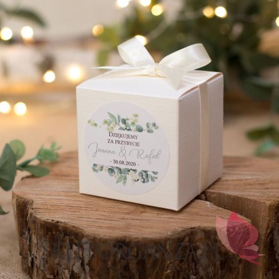 Personalizowane pudełka na wesele Pudełko kostka 7cm – personalizacja kolekcja ślubna EUKALIPTUS