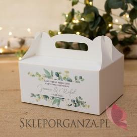 Pudełko na ciasto - personalizacja kolekcja ślubna EUKALIPTUS