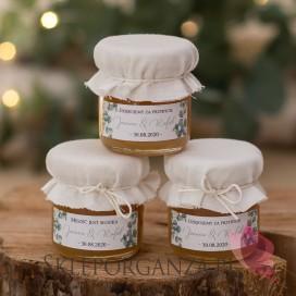 Podziękowanie dla gości – miód biały – personalizacja kolekcja ślubna EUKALIPTUS