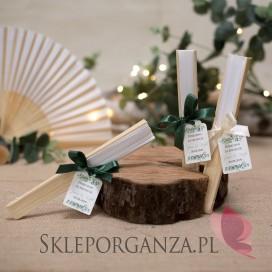 Wachlarz materiałowy biały - personalizacja kolekcja ślubna EUKALIPTUS