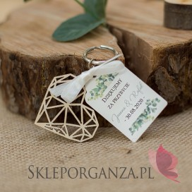 Inne personalizowane upominki dla gości weselnych Breloczek serce - personalizacja kolekcja ślubna EUKALIPTUS