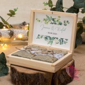 Drewniane pudełko na obrączki - personalizacja kolekcja ślubna EUKALIPTUS