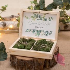 EUKALIPTUS na ślub Drewniane pudełko na obrączki mech - personalizacja kolekcja ślubna EUKALIPTUS