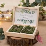 Drewniane pudełko na obrączki mech - personalizacja kolekcja ślubna EUKALIPTUS
