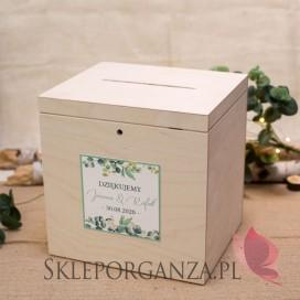 EUKALIPTUS na ślub Drewniana skrzynka na koperty - personalizacja kolekcja ślubna EUKALIPTUS