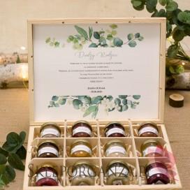 Zestaw miodów ekskluzywny – personalizacja kolekcja ślubna EUKALIPTUS