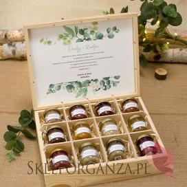 KOLEKCJA EUKALIPTUS na ślub Zestaw miodów ekskluzywny – personalizacja kolekcja ślubna EUKALIPTUS