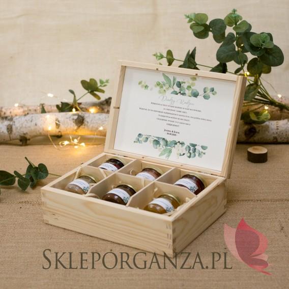 KOLEKCJA EUKALIPTUS na ślub Zestaw miodów – średni – personalizacja kolekcja ślubna EUKALIPTUS