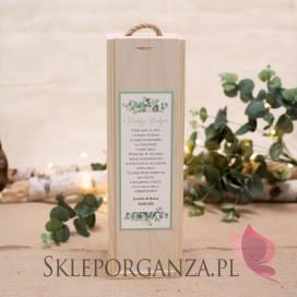 Drewniana skrzynka na alkohol - personalizacja kolekcja ślubna EUKALIPTUS