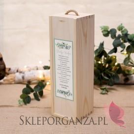 KOLEKCJA EUKALIPTUS na ślub Drewniana skrzynka na alkohol - personalizacja kolekcja ślubna EUKALIPTUS
