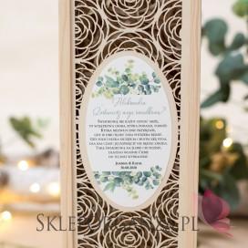 KOLEKCJA EUKALIPTUS na ślub Drewniana skrzynka na alkohol ROŻA - personalizacja kolekcja ślubna EUKALIPTUS