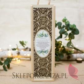 Drewniana skrzynka na alkohol ROŻA - personalizacja kolekcja ślubna EUKALIPTUS