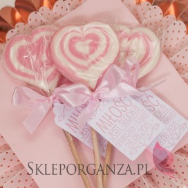 Lizak serce różowe- personalizacja- kolekcja LOVE