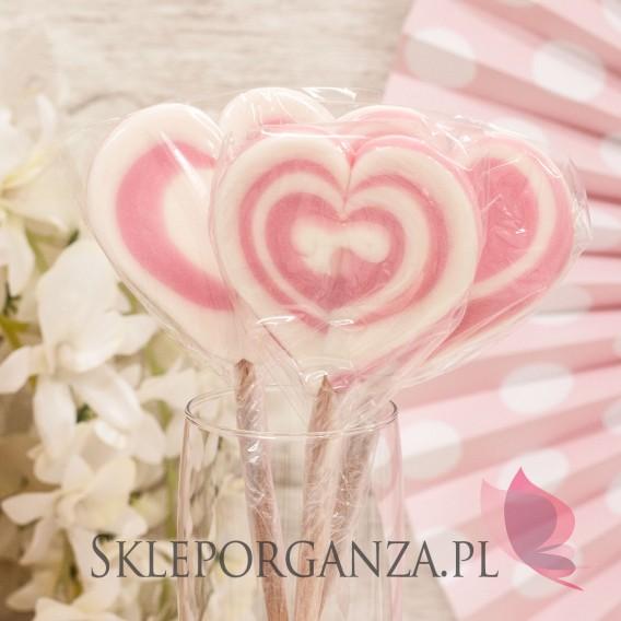 Różowy Lizak serce różowe