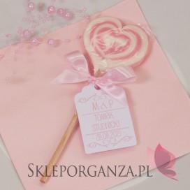 Lizak serce różowe 2w1- personalizacja winietka - kolekcja LOVE