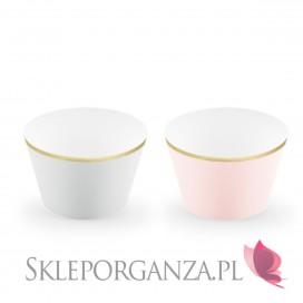 Papilotki na muffinki j. róż/szary, (złote brzegi), 6 szt.
