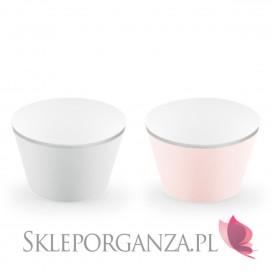 Różowy Papilotki na muffinki j róż/szare, (srebrne brzegi), 6 szt.