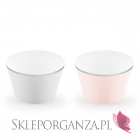 Papilotki na muffinki j róż/szare, (srebrne brzegi), 6 szt.