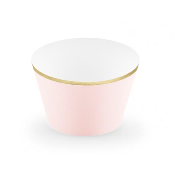 Różowy Papilotki na muffinki jasnoróżowe, (złote brzegi), 6 szt.