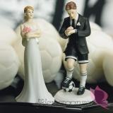 Porcelanowa figurka na tort - Para Piłkarska
