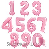 Różowy Balon foliowy cyfra jasnoróżowa