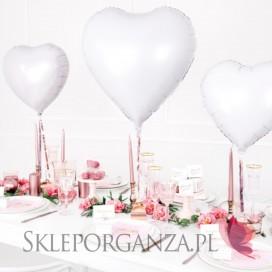 Biały Balon foliowy SERCE białe 61cm