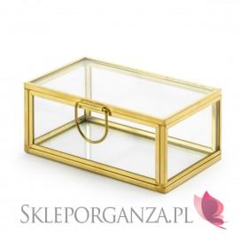 Pudełka na obrączki Szklane pudełko na obrączki, złote ranty