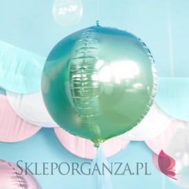 Kolekcja Syrenka na Roczek Balon foliowy Kula ombre, niebiesko-zielony 35cm
