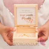 Rose Gold Drewniane pudełko na prezent - personalizacja kolekcja TEAM BRIDE