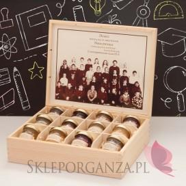 Zestaw miodów w szkatułce ze zdjęciem - ekskluzywny - personalizacja Dzień Nauczyciela