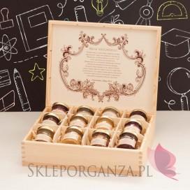 Zestaw miodów w szkatułce - ekskluzywny - personalizacja Dzień Nauczyciela