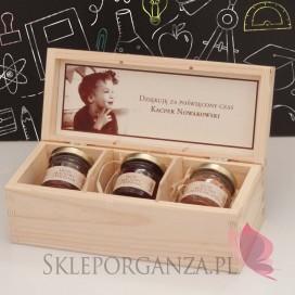 Zestaw miodów w szkatułce ze zdjęciem - mały - personalizacja Dzień Nauczyciela