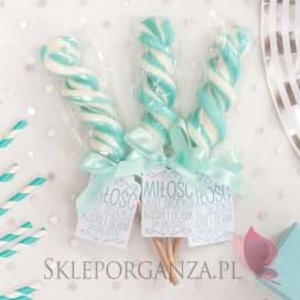 Lizaki weselne personalizowane Lizak duży świderek Tiffany Blue - personalizacja kolekcja LOVE